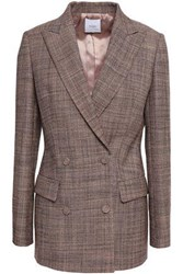 Agnona Double Breasted Wool Tweed Blazer Pastel Pink