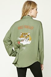 Forever 21 Contemporary Tiger Shirt Olive