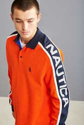 Nautica Jersey Long Sleeve Polo Shirt Red