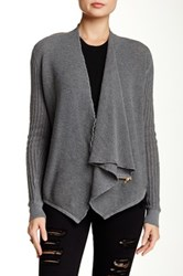 Dolce Cabo Waffle Knit Zip Shoulder Cardigan Gray