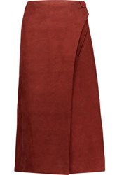 Adam By Adam Lippes Suede Midi Wrap Skirt Burgundy