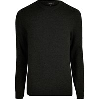 River Island Mens Black Knit Mesh Panel Jumper