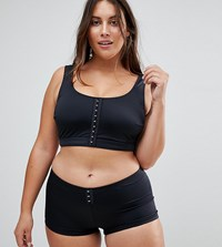 Asos Curve Mix And Match Crop Bikini Top With Hook And Eye Black