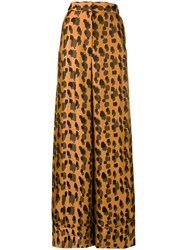 Just Cavalli Leopard Print Palazzo Pants Brown