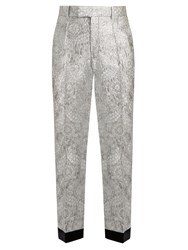 Gucci Floral Brocade Straight Leg Trousers Silver