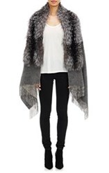 Barneys New York Women's Fox Fur Collar Cape Grey