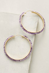 Anthropologie Althea Hoop Earrings Purple