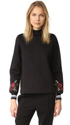 Mother Of Pearl Cassie Embroidered Sleeve Top Black