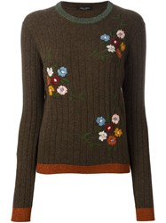 Roberto Collina Ribbed Floral Embroidered Sweater Green