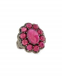 Bavna Oval Composite Ruby And Diamond Flower Ring Size 7
