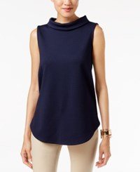 Alfani Mock Neck Top Only At Macy's Navy Nautical