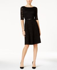 Charter Club Petite Belted Lace Fit And Flare Dress Only At Macy's Deep Black