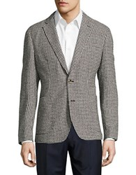 Hardy Amies Textured Gingham Two Button Jacket Bone