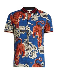 Gucci Bengal Print Cotton Blend Pique Polo Shirt Blue