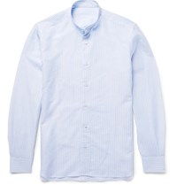 Caruso Slim Fit Grandad Collar Striped Slub Cotton And Linen Blend Shirt Light Blue