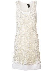 Vera Wang Embroidered Pearls Dress White