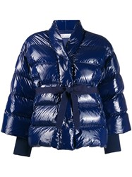 Red Valentino Belted Puffer Jacket Blue