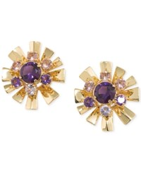 Carolee Gold Tone Purple Flower District Starburst Clip Earrings