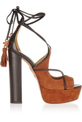 Aquazzura Poppy Delevingne Hero Plateau Suede And Leather Platform Sandals Tan