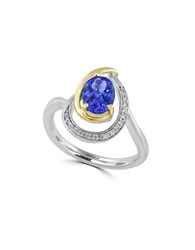 Effy Diamonds Oval Tanzanite 14K Yellow Gold And 14K White Gold Ring Blue