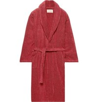 Cleverly Laundry Striped Cotton Terry Robe Brick