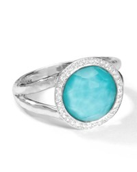 Ippolita Stella Mini Lollipop Ring In Turquoise Doublet With Diamonds 0.15Ctw Size 8 Silver