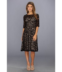Adrianna Papell 3 4 Sleeve All Over Lace Dress Black Nude Women's Dress Multi