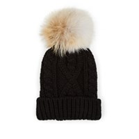 Crown Cap Fur Pom Pom Cable Knit Beanie Black