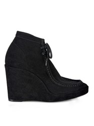 Balenciaga Lace Up Suede Wedge Ankle Boots