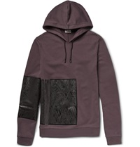 Balenciaga Appliqued Cotton Jersey Hoodie Purple
