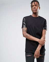 Asos Longline T Shirt With Sequin Sleeves Black White
