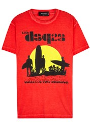 Dsquared Waiting For Summer Printed Cotton T Shirt Red