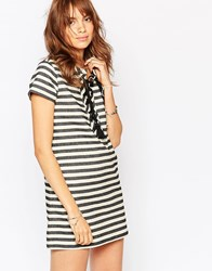 Pepe Jeans Stripe Dress With Lace Up Front Multi