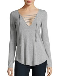 Splendid Long Sleeve Ribbed Lace Up V Neck Tee Heather Grey