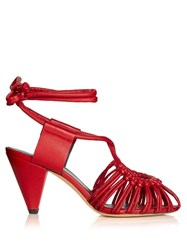 Isabel Marant Etoile Milly Leather Cage Sandals Red