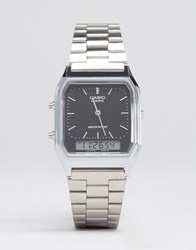 Casio Analogue And Digital Square Watch In Silver Aq230a 1Ds Silver