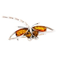 Be Jewelled Sterling Silver Amber Dragonfly Brooch Silver Orange