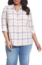 Caslonr Plus Size Women's Caslon Long Sleeve Crinkle Cotton Shirt Ivory Coral Plaid