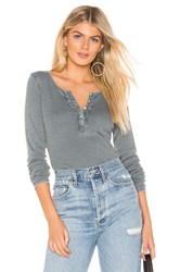 Chaser Ruffle Shirttail Long Sleeve Henley Top Gray