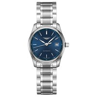 Longines L22574926 Women's Master Collection Automatic Date Bracelet Strap Watch Silver Dark Blue
