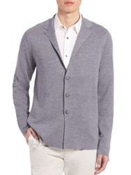 Vince Wool And Silk Blazer Navy Cinder