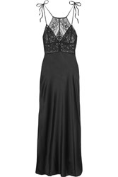 Stella Mccartney Ophelia Whistling Silk Blend Satin And Stretch Leavers Lace Chemise Black