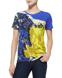 Prabal Gurung Abstract Print Jersey Tee Yellow Blue