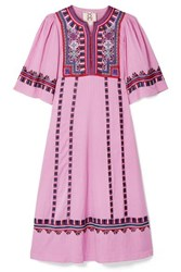 Figue Electra Embroidered Striped Voile Midi Dress Baby Pink