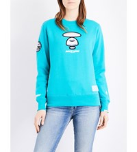Aape By A Bathing Ape Foil Print Embroidered Sweatshirt Turquoise