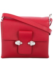 Alexander Mcqueen Twin Skull Satchel Red