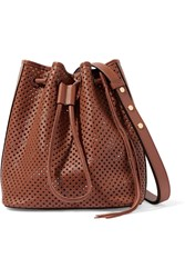 Rebecca Minkoff Perforated Leather Bucket Bag Brown
