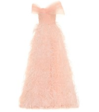 Monique Lhuillier Embellished Organza And Tulle Gown Pink