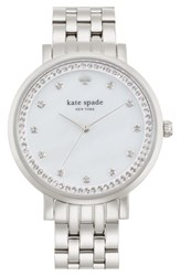 Kate Spade Women's New York 'Monterey' Crystal Dial Bracelet Watch 38Mm Silver