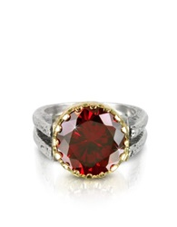 Try Red Cubic Zirconia Sterling Silver And Rose Gold Ring